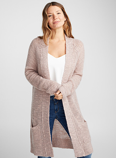 Rosy knit open cardigan