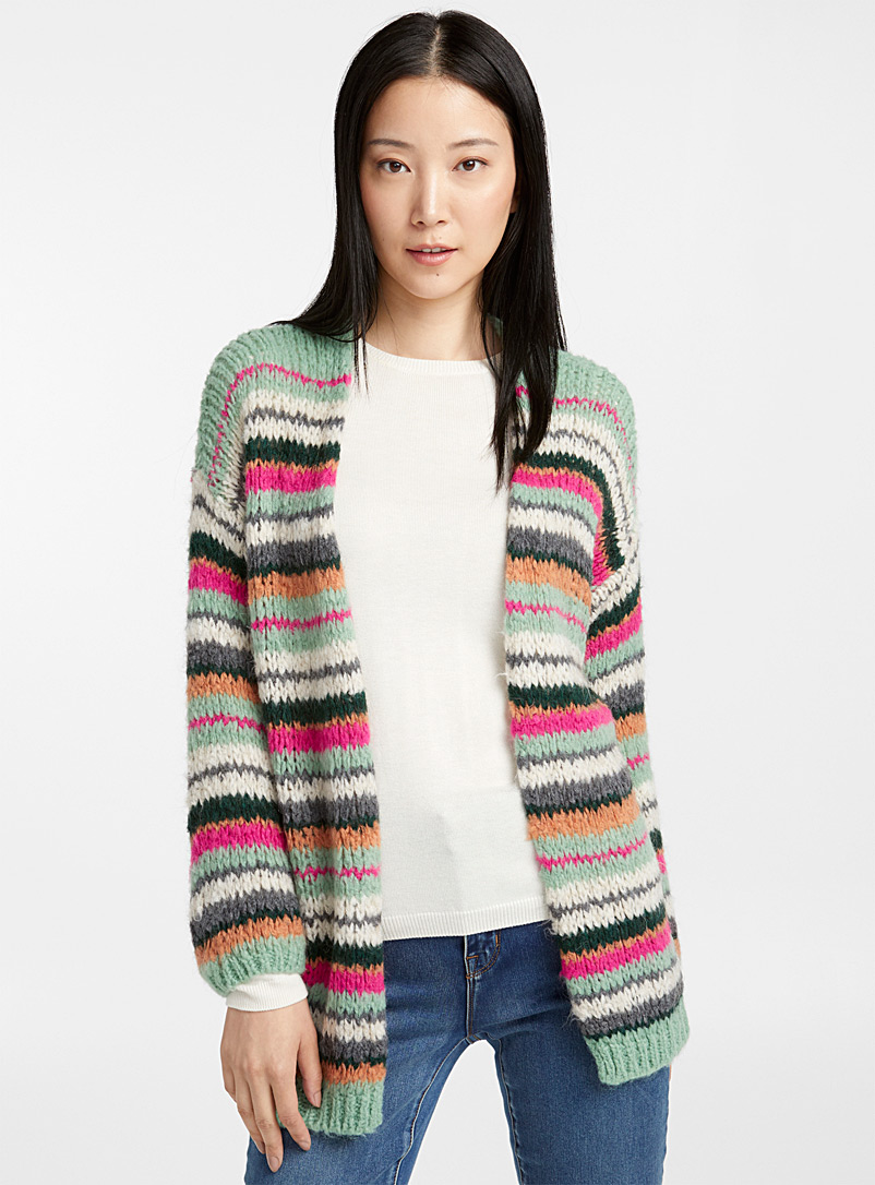 Colourful stripe cardigan - Cardigans - Lime Green