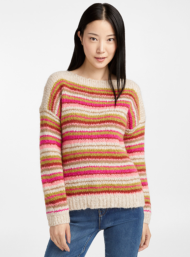 Candy stripe boat-neck sweater - Sweaters - Cream Beige