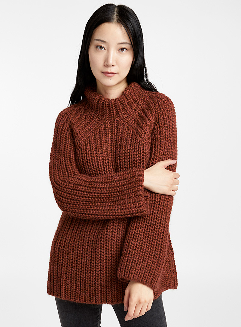 Chunky knit mock neck sweater - Sweaters - Copper