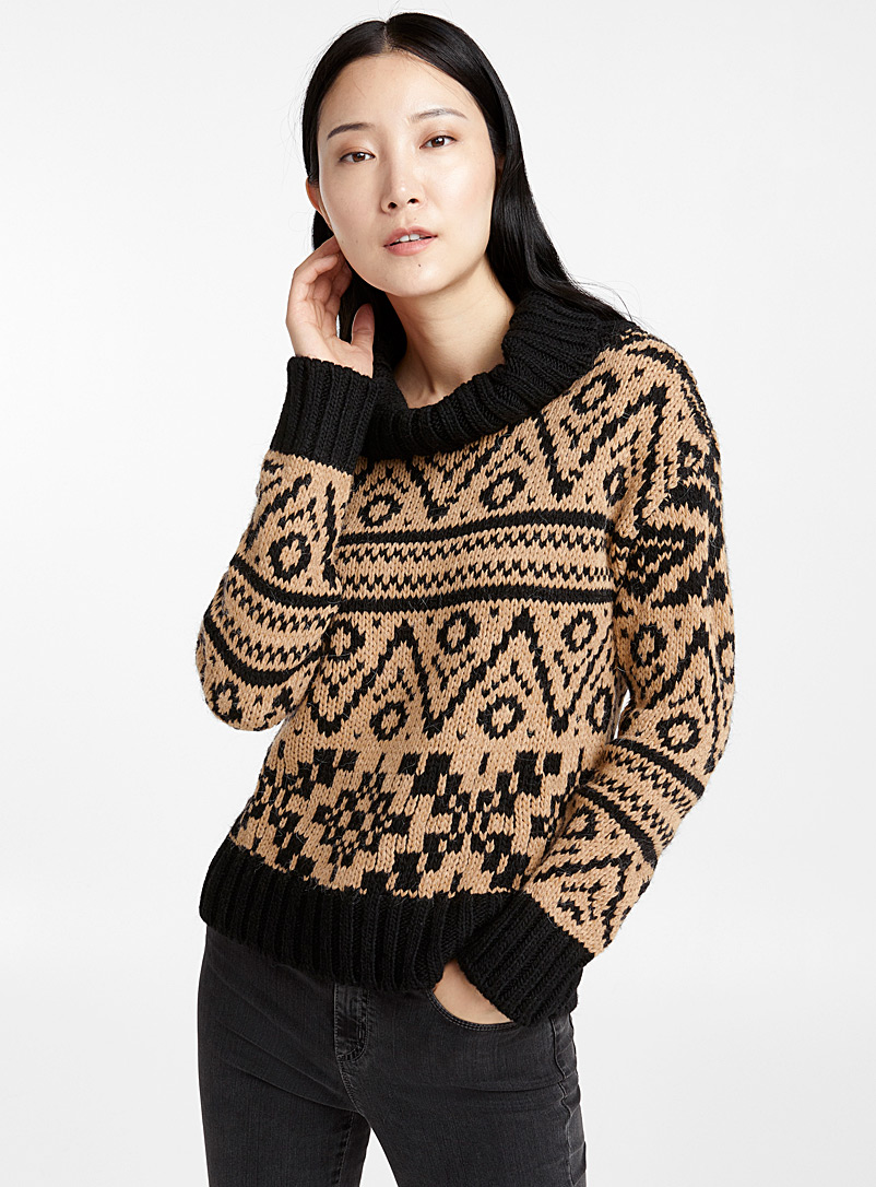 Two-tone jacquard turtleneck - Sweaters - Black