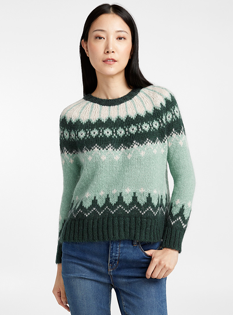 Monochrome jacquard sweater - Sweaters - Green