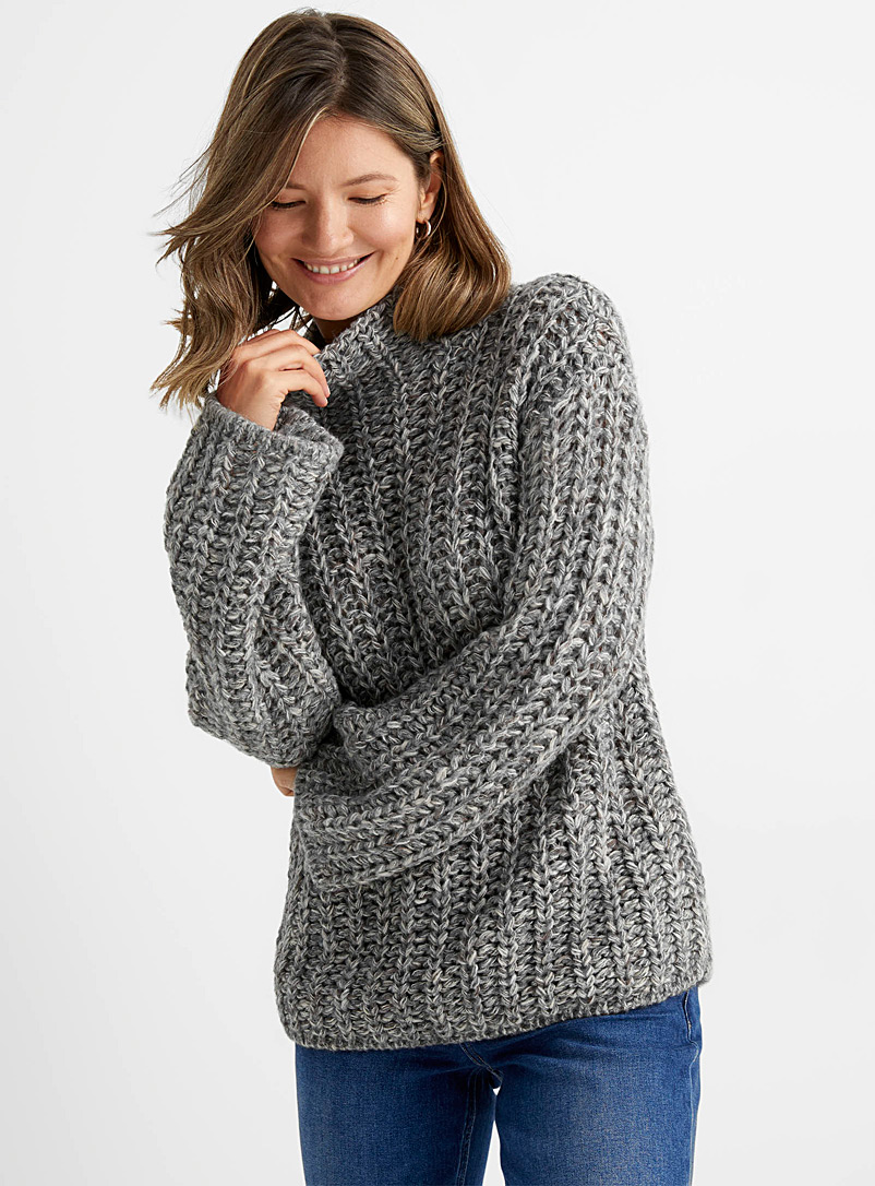 Contemporaine Grey Heather chunky knit sweater for women