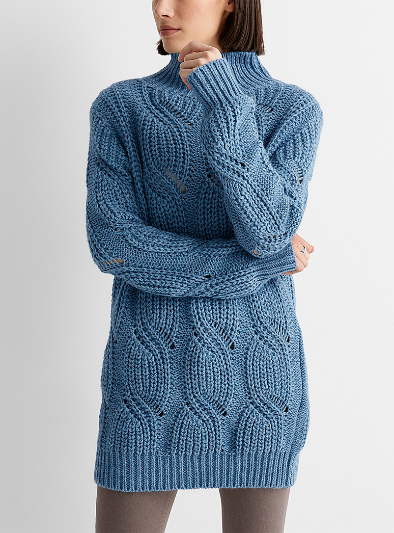 Contemporaine Baby Blue Mega-cable tunic sweater for women