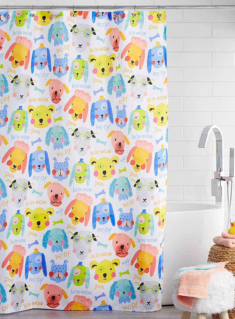 Mischievous friends shower curtain - Fabric - Patterned White