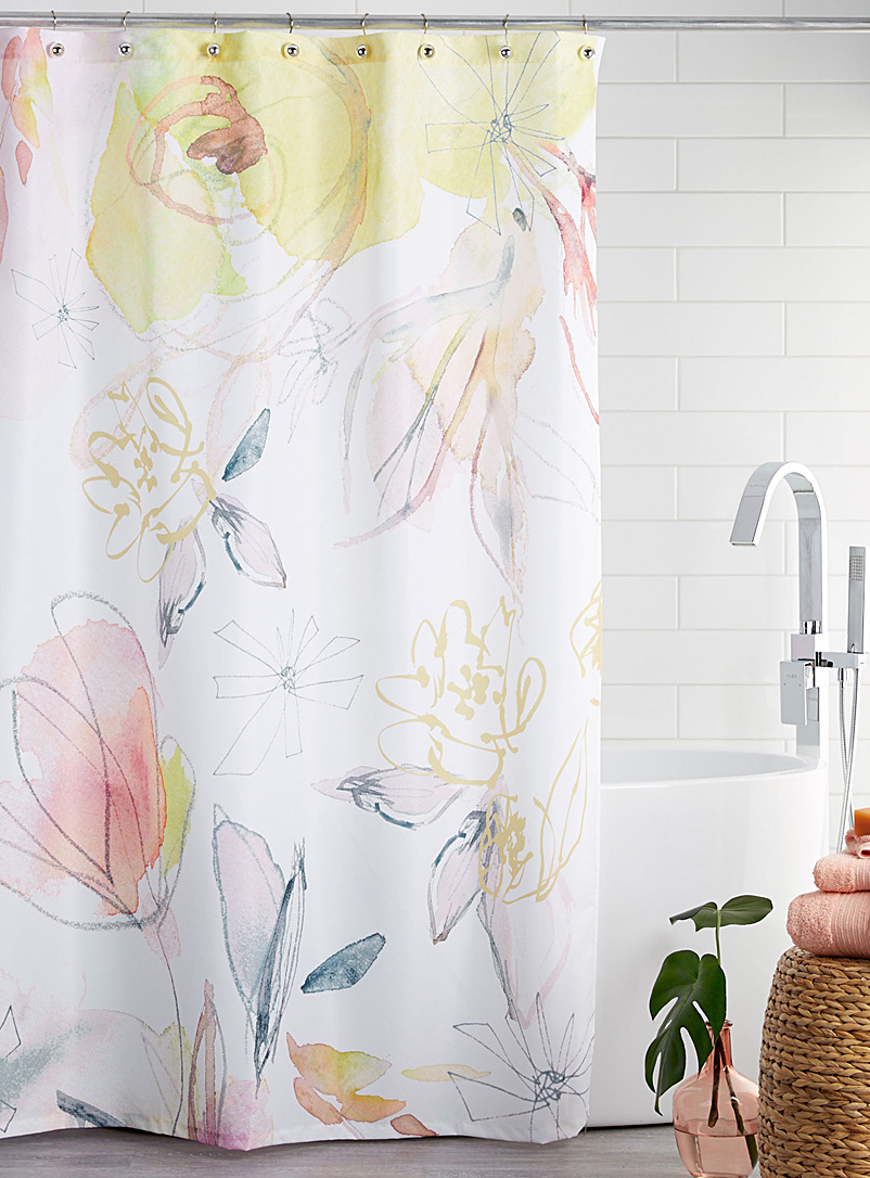 Dewy flower shower curtain - Fabric - Patterned White