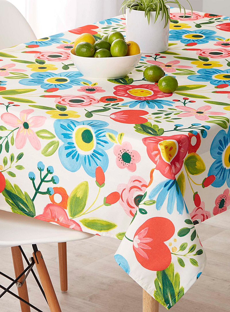 Floral work of art tablecloth - Printed - Assorted