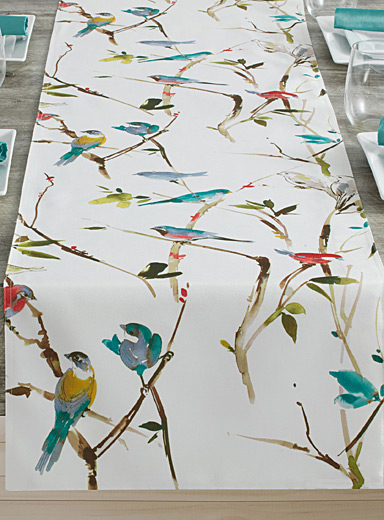 Spring birds coated table runner  16&quote; x 72&quote;
