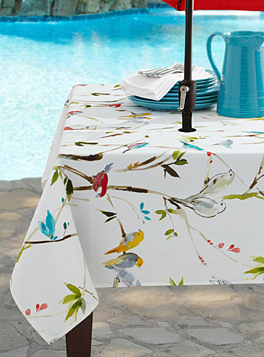 Spring birds tablecloth for parasol