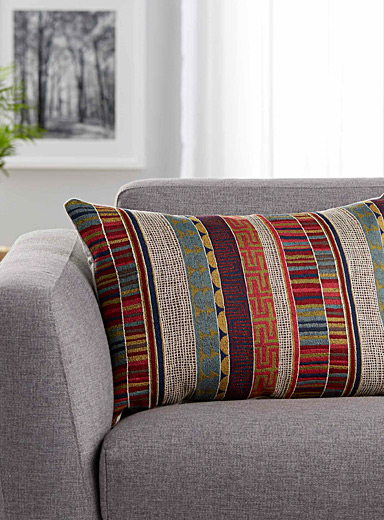 Le coussin rayures tapisserie <br>16 x 24 po
