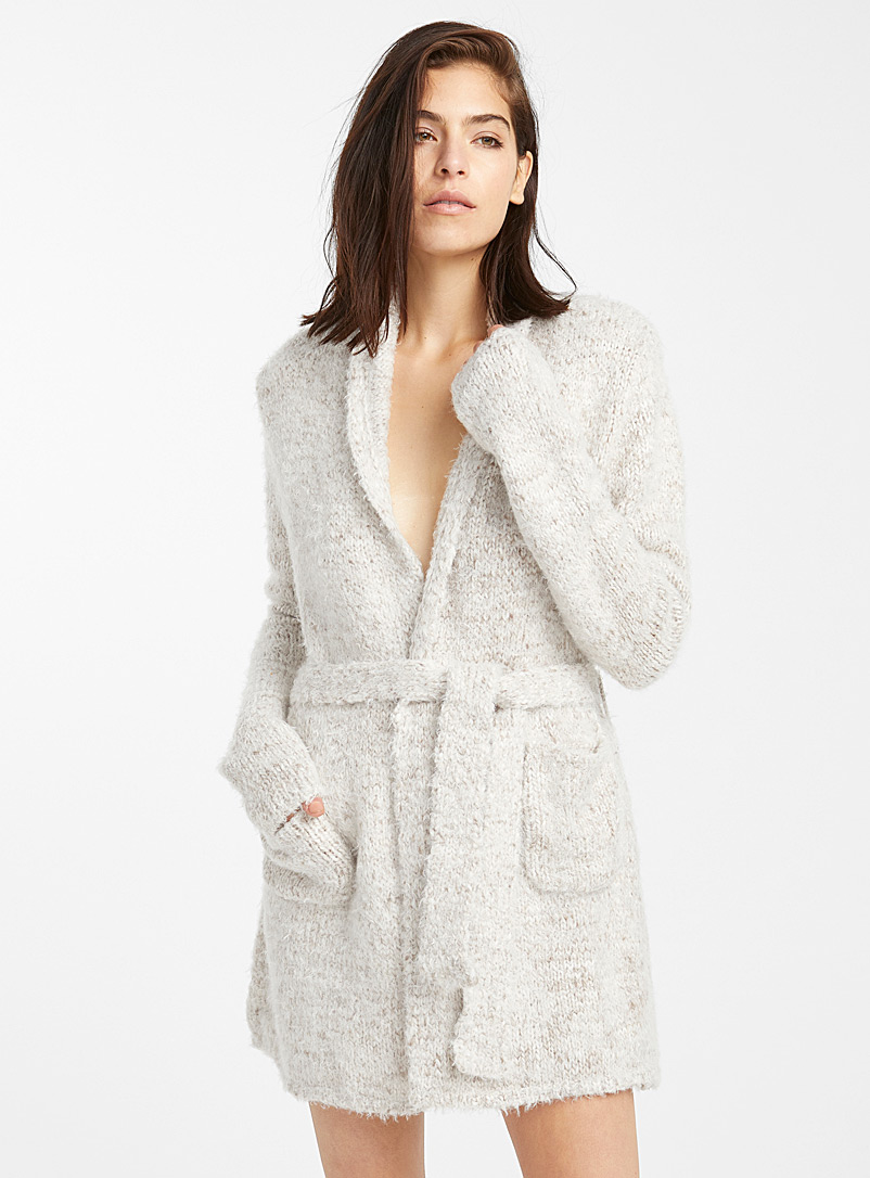 Comfy knit short robe - Bathrobes - Ivory White