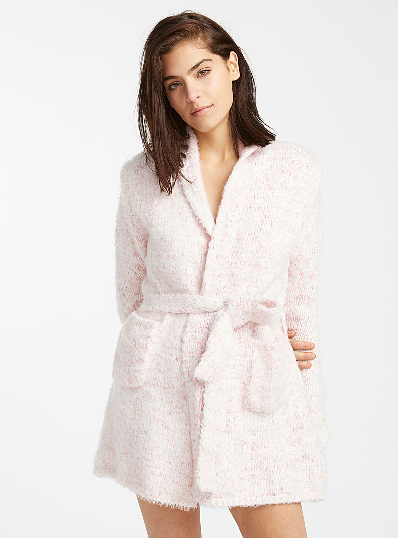 Comfy knit short robe - Bathrobes - Pink
