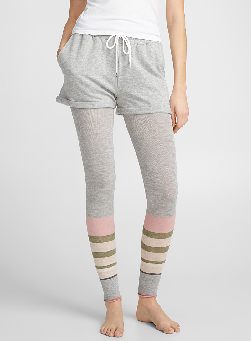 Stripe block legging - Leggings & Jeggings - Light Grey