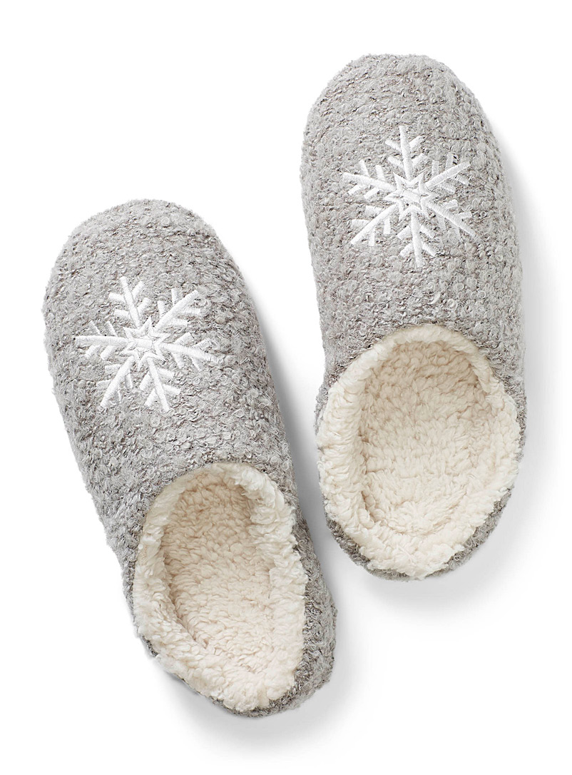 White snowflake mule slippers - Slippers - Dark Grey