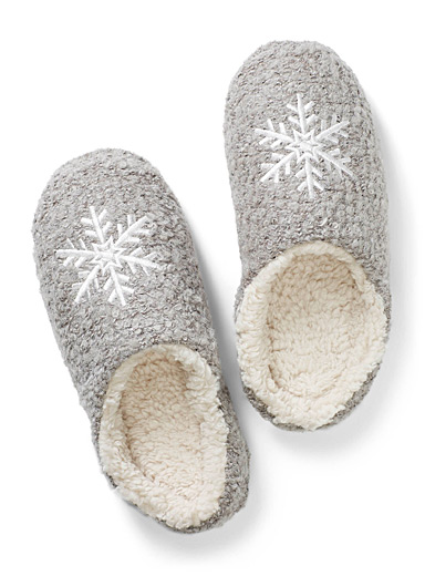 White snowflake mule slippers
