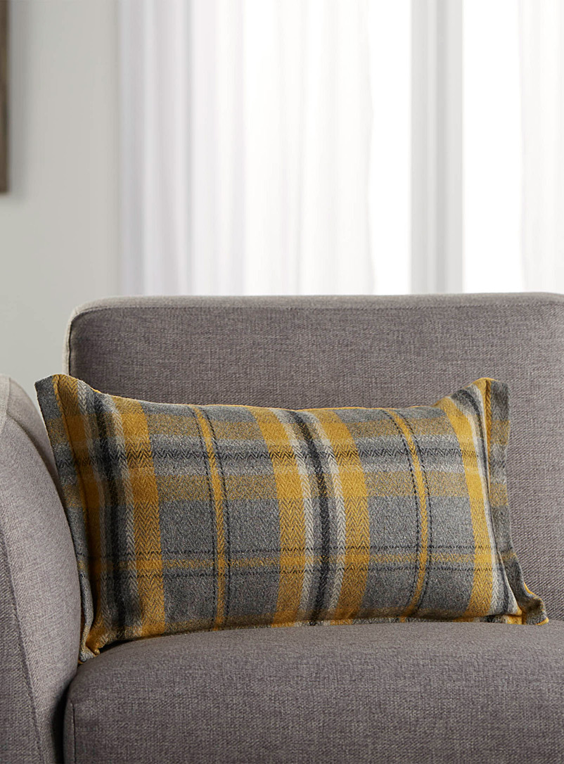 Sunny check cushion  30 cm x 50 cm - Cushions - Patterned Yellow