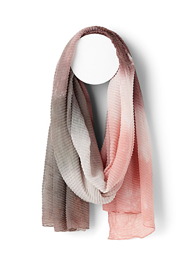 Simons Assorted red Tie-dye pleated scarf for women