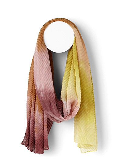 Simons Assorted yellow Tie-dye pleated scarf for women
