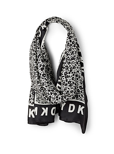 DKNY Patterned Black Contrast floral scarf for women