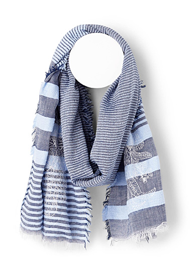 Embroidery and stripe scarf
