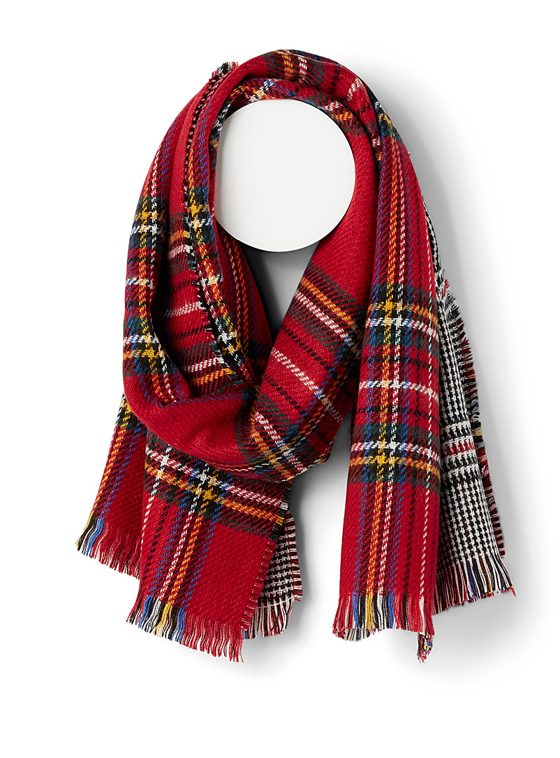 Simons Patterned Red Tartan and Prince of Wales scarf for women