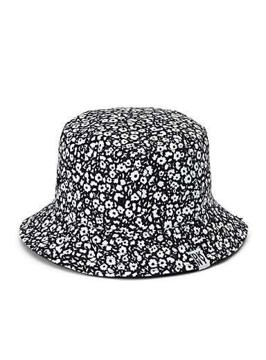DKNY Patterned Black Floral nylon bucket hat for women