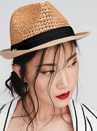 Ribbon and straw fedora