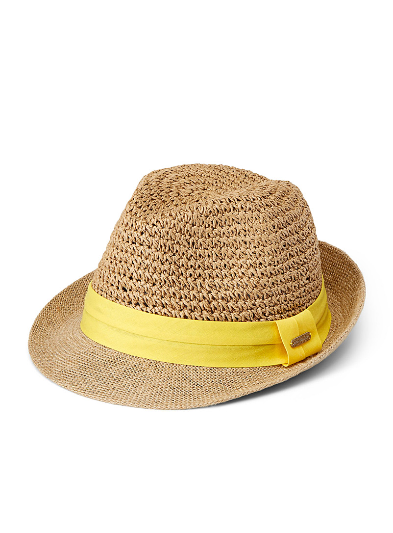Steve Madden Assorted brown  Ribbon and straw fedora for women