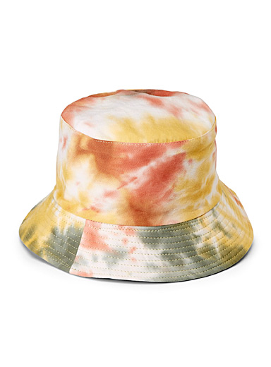 Steve Madden Patterned Orange Reversible tie-dye bucket hat for women