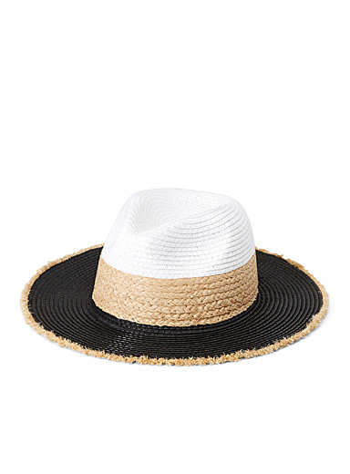 Tricolour straw Panama hat