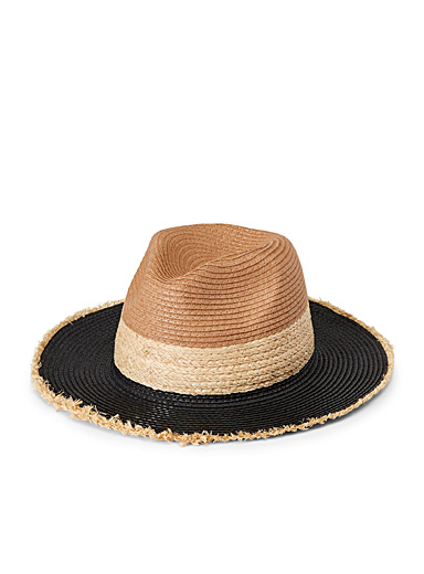 Steve Madden Patterned Brown Tricolour straw Panama hat for women