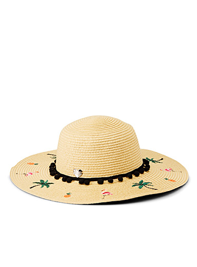 Palm tree and flamingo floppy hat