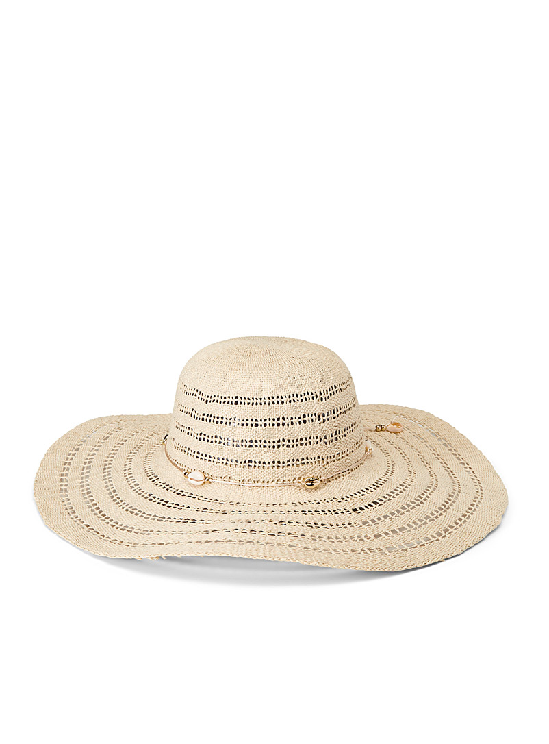 Steve Madden Cream Beige Openwork striped straw hat for women