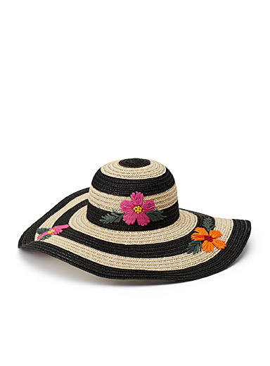 Rich floral straw cloche