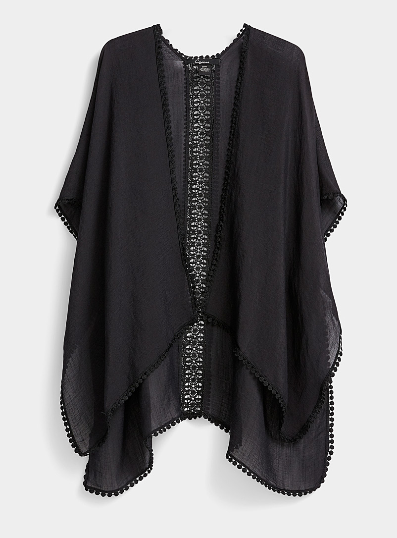 Simons Black Crochet lace shawl for women