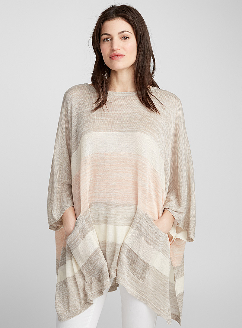Striped poncho - Shawls & Ponchos - Patterned Red