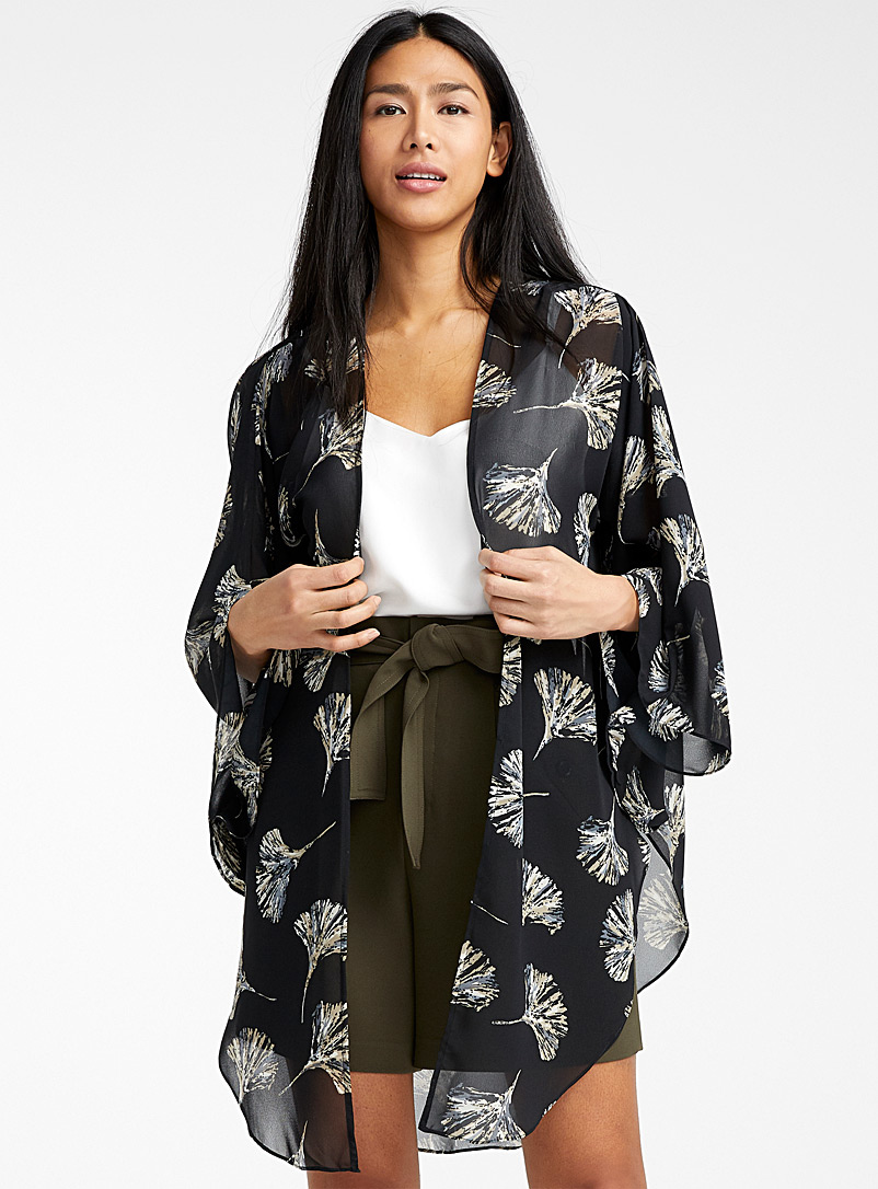 Simons Patterned Black Airy floral kimono for women