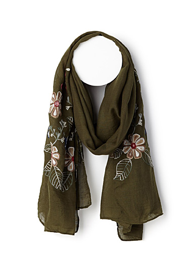 Wildflower embroidered scarf