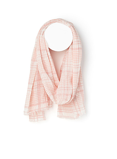 Thin check gathered scarf
