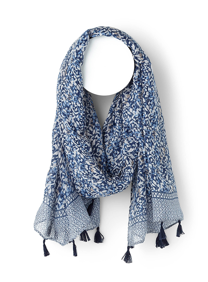 Simons Silver Flower vines scarf for women