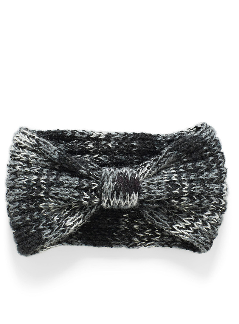 Heathered knotted headband - Head Wraps - Patterned Black