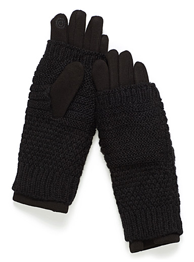 Two-in-one techno knit gloves
