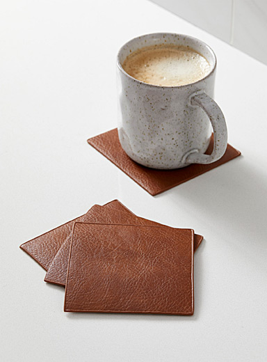 Faux-leather coasters Set of 4