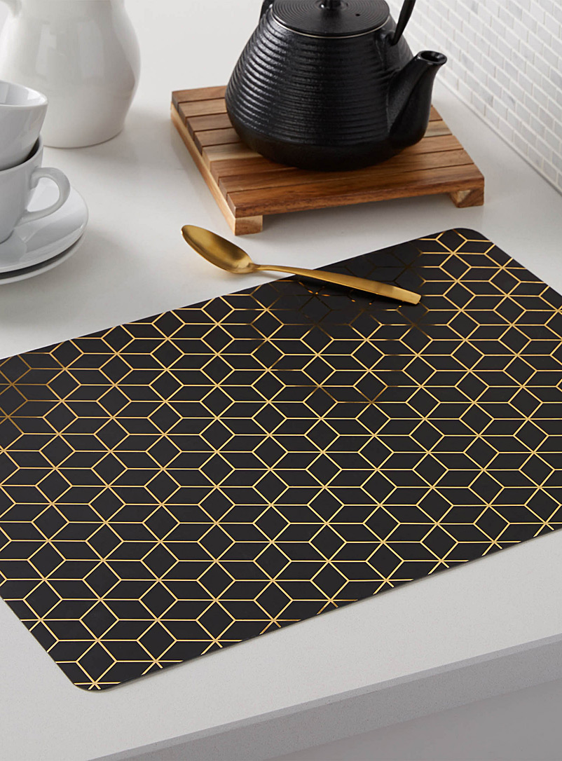 Golden cube vinyl placemat - Vinyl - Patterned Black