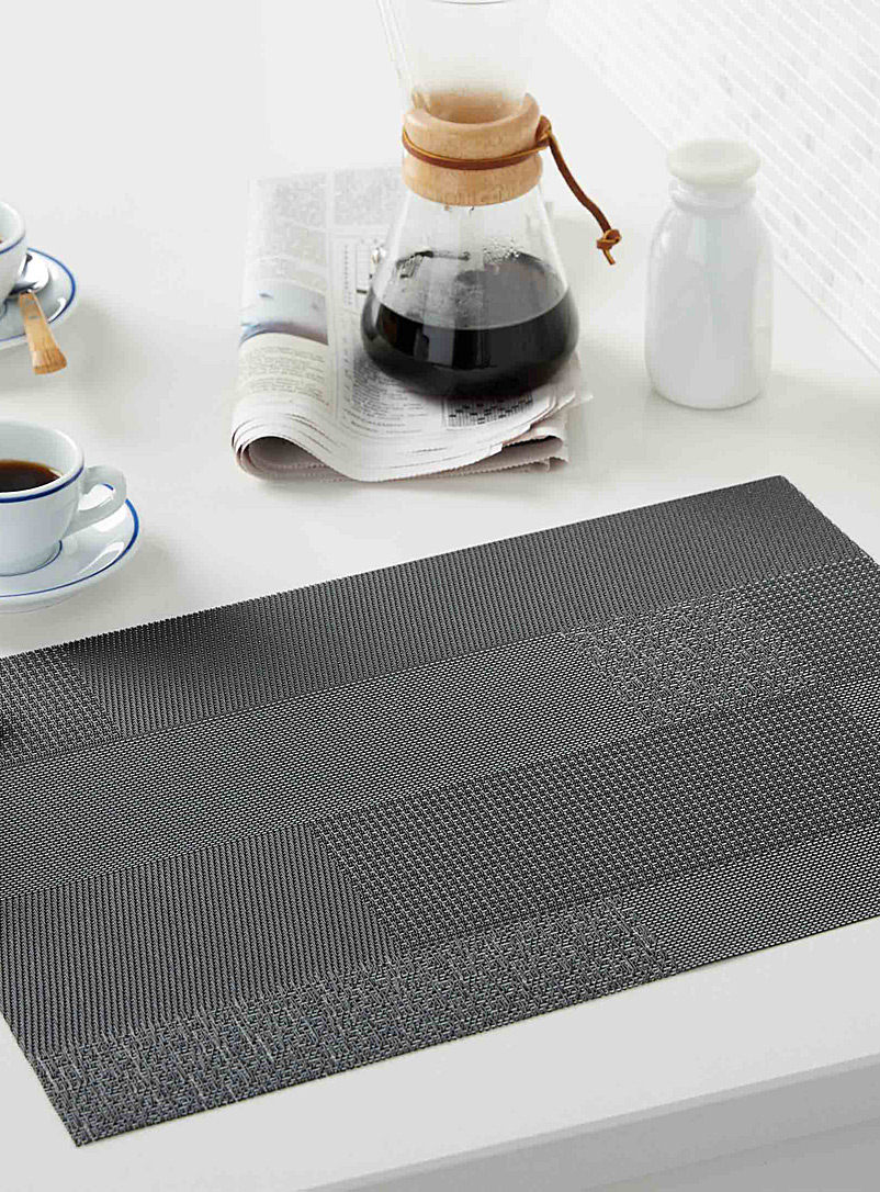 Simons Maison Black Modern block braided vinyl placemat