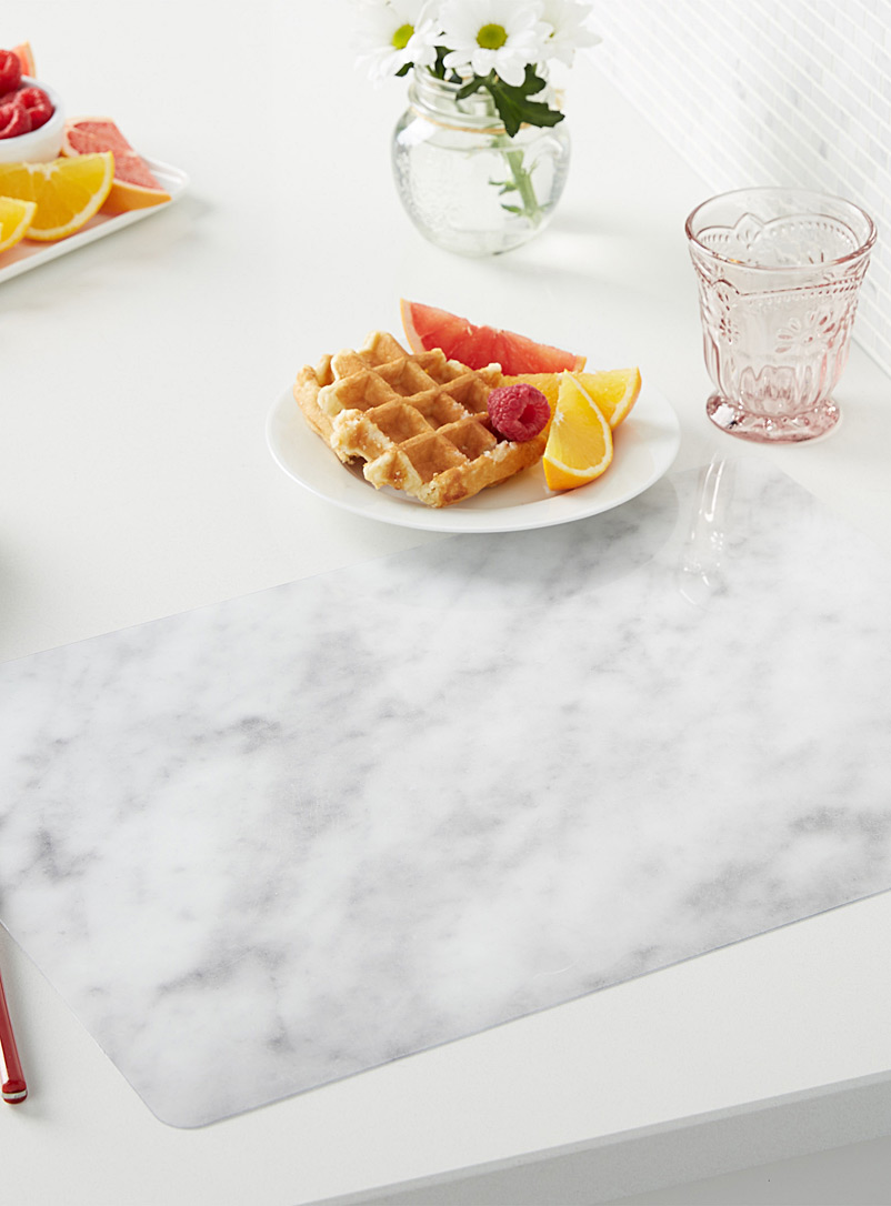 Marble print rigid place mat - Vinyl - Patterned White