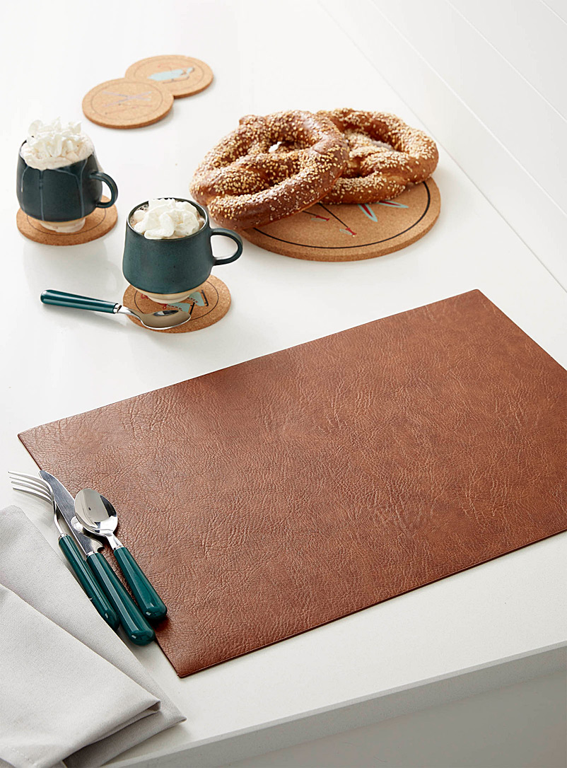 Simons Maison Copper Cognac faux-leather placemat