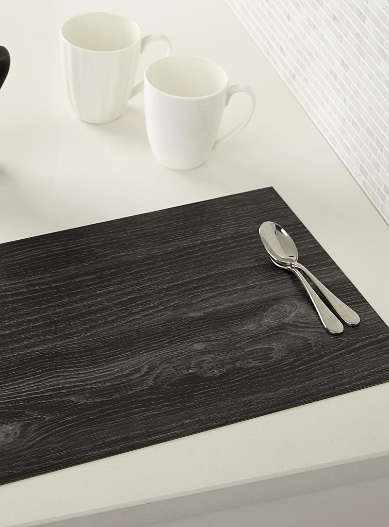 Textured faux-wood place mat - Vinyl - Charcoal