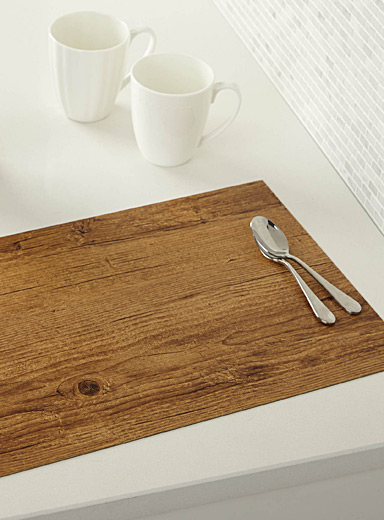 Textured faux-wood placemat