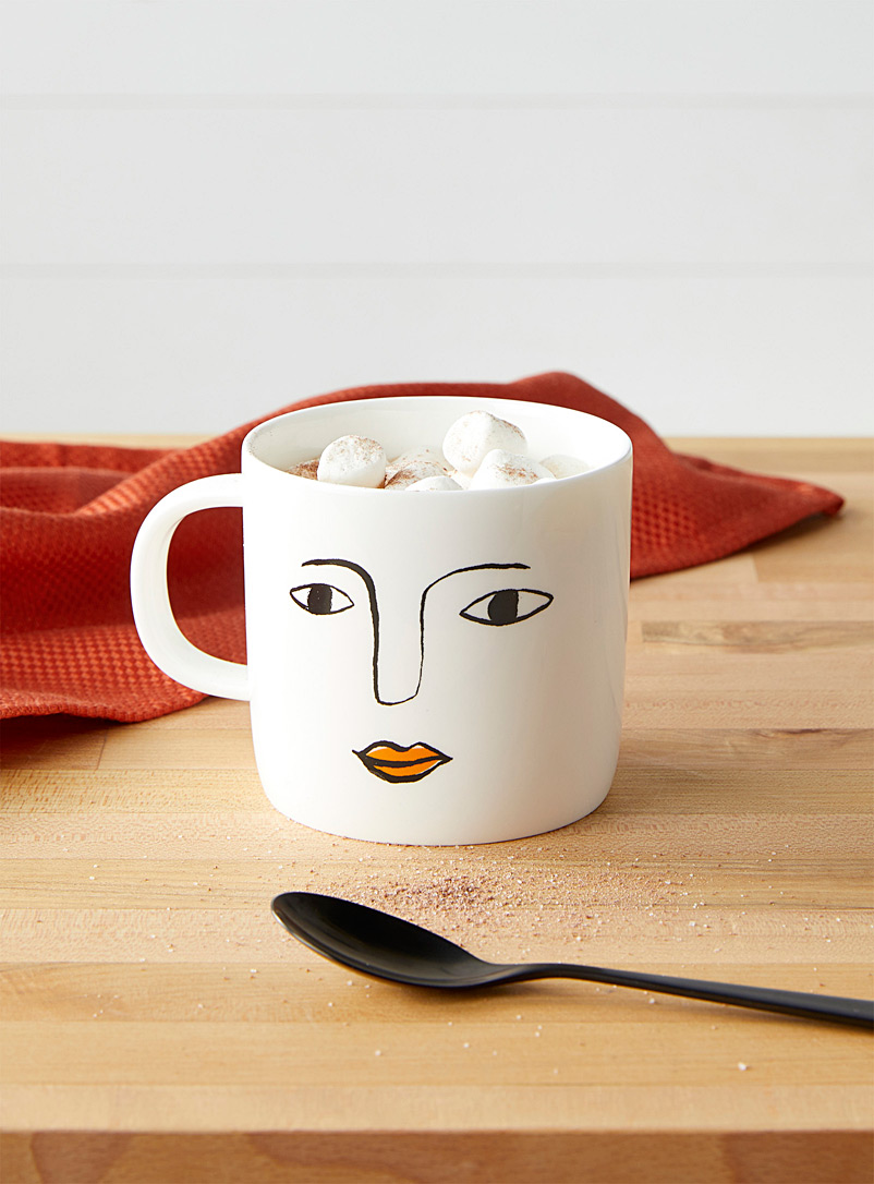Citta Design Patterned Black Drawn face mug